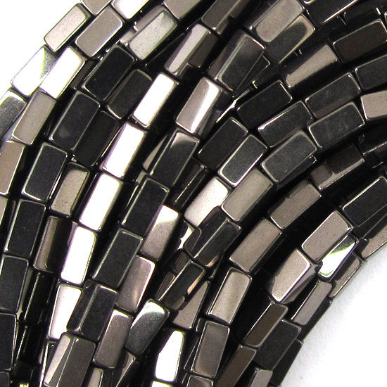 "4mm hematite side tube beads 16"" strand brown color"