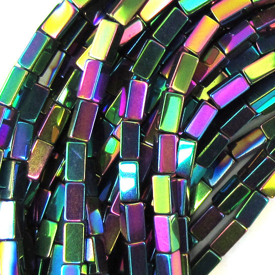 "4mm hematite side tube beads 16"" strand rainbow color"