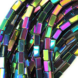 4mm hematite side tube beads 16