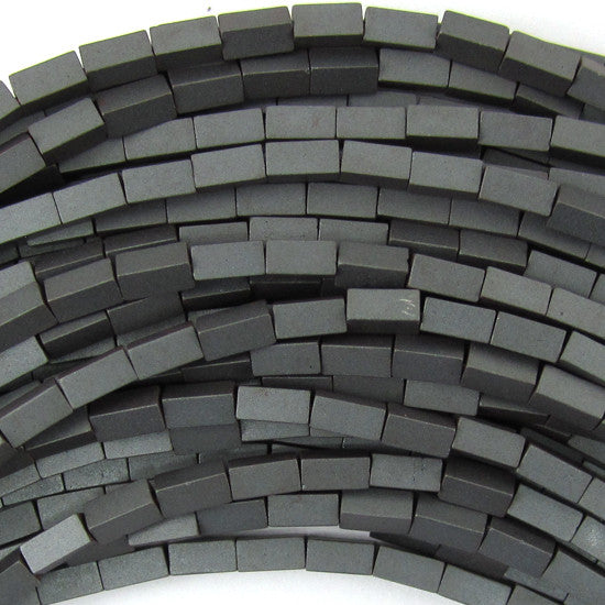 "4mm matte hematite side tube beads 16"" strand"
