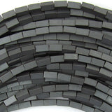 4mm matte hematite side tube beads 16