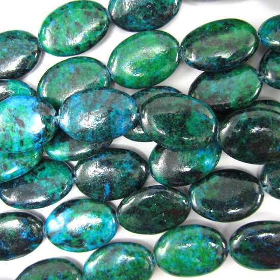 "18mm blue green azurite flat oval beads 15.5"" strand"