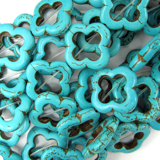 "20mm blue turquoise carved flower beads 16"" strand"