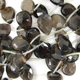 18mm faceted smoky quartz flat teardrop beads 15.5
