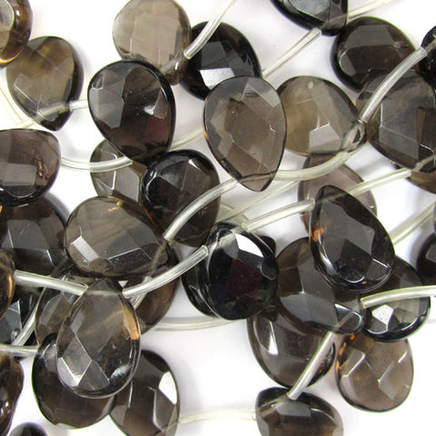 "10mm faceted gray quartz round beads 15"" strand"