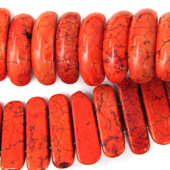 "8x25mm orange red turquoise oval beads 8"" strand"