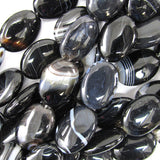 18mm black stripe agate flat oval beads 16
