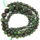 6-14mm faceted ruby zoisite jade round beads 18