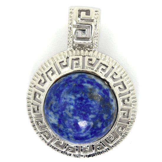 25mm blue lapis lazuli silver plated coin pendant bead