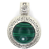 25mm green synthetic malachite silver plated coin pendant bead