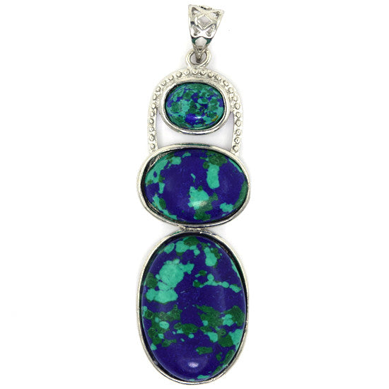 52mm blue green synthetic azurite silver plated oval pendant bead