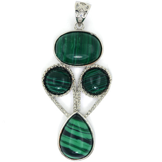 50mm green synthetic malachite silver plated oval coin teardrop pendant bead