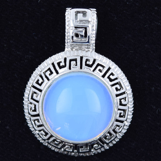 25mm opalite quartz silver plated coin pendant bead