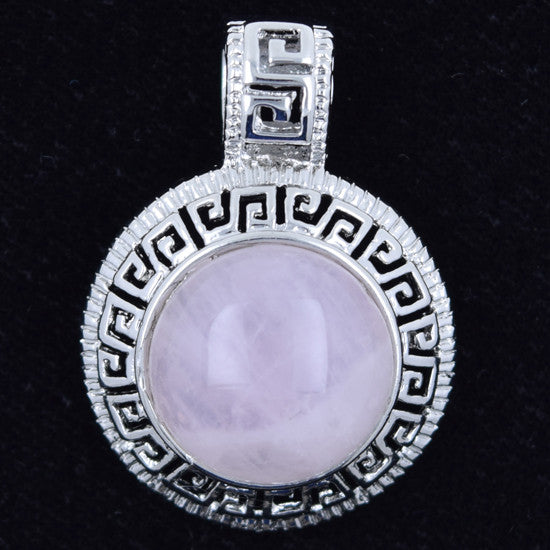 25mm rose quartz silver plated coin pendant bead