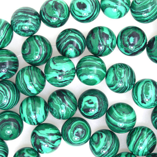 "11mm synthetic green malachite round beads 15"" strand"
