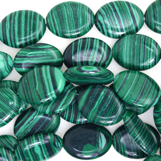"20mm synthetic green malachite flat oval beads 15"" strand"