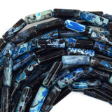 13mm black blue stripe agate tube beads 15.5