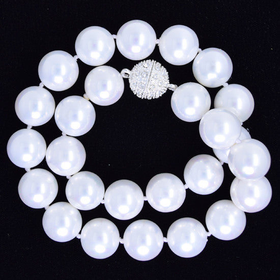 14mm rainbow white shell pearl round beads necklace 17""