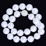 14mm rainbow white shell pearl round beads necklace 17