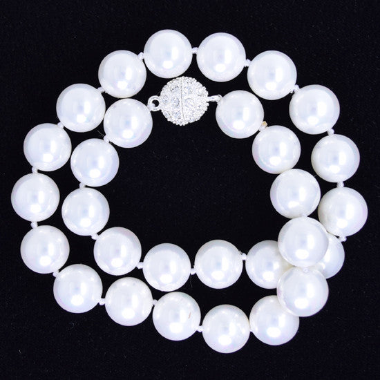 16mm rainbow white shell pearl round beads necklace 17""
