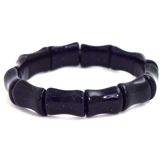 "12mm blue goldstone stretch bracelet 7"" bone shape"