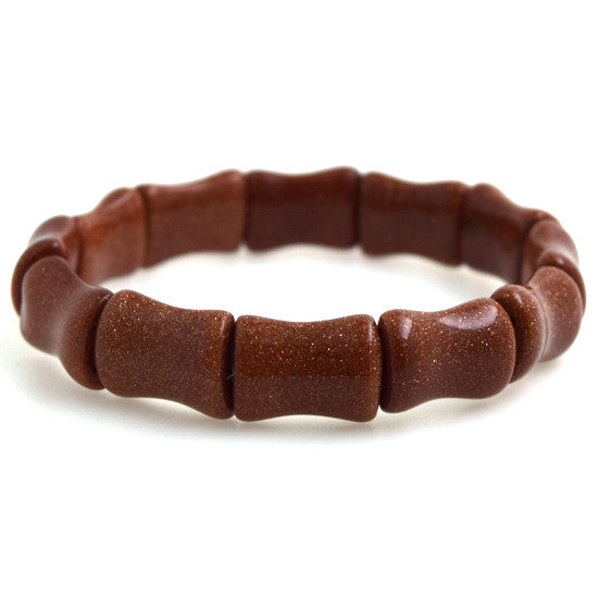 "12mm goldstone stretch bracelet 7"" bone shape"