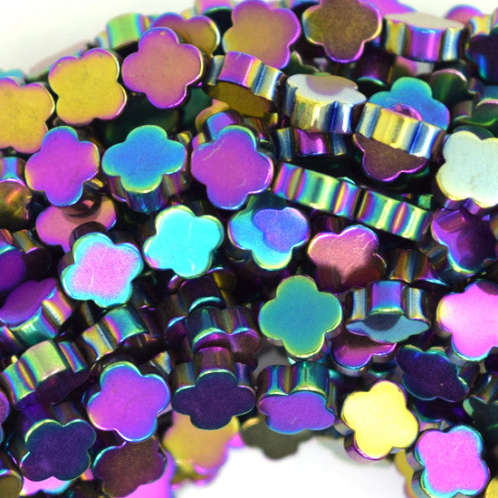 "6mm hematite carved flower beads 15.5"" strand rainbow color"