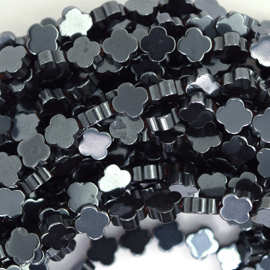 "6mm hematite carved flower beads 15.5"" strand"