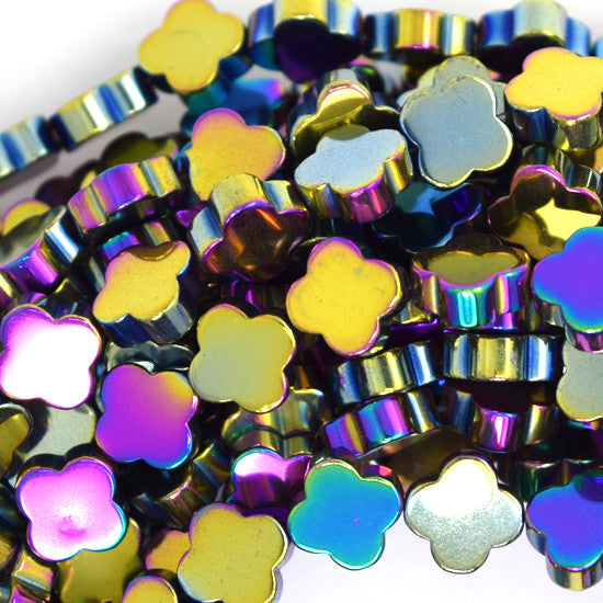 "8mm hematite carved flower beads 15.5"" strand rainbow"