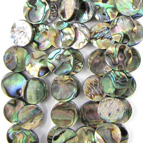 "12mm abalone shell coin beads 16"" strand"
