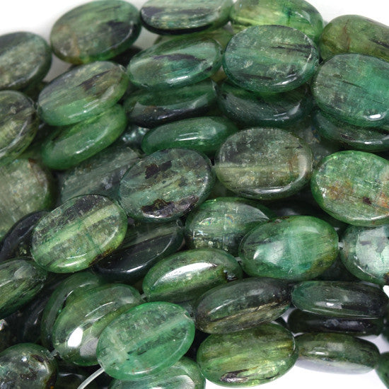 "14mm green kyanite flat oval beads 16"" strand"