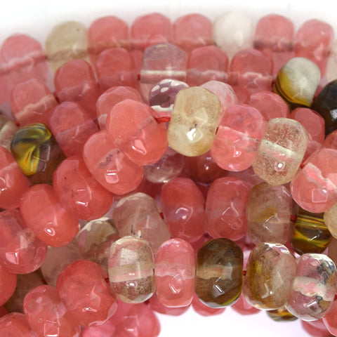 "10mm faceted cherry quartz round beads 15"" strand"