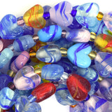 12mm multicolor lampwork glass heart beads 14