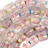 10mm pink lampwork glass cube nugget beads 16