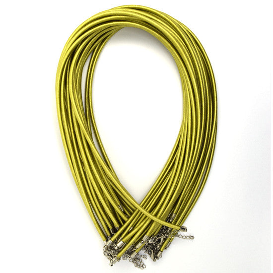 3mm yellow green silk cord necklace 18""