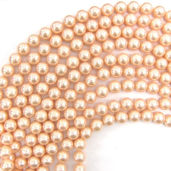 "10mm pink shell pearl round beads 16"" strand"