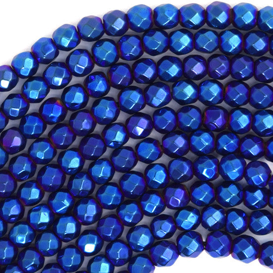 "4mm faceted hematite round beads 15"" strand blue color"