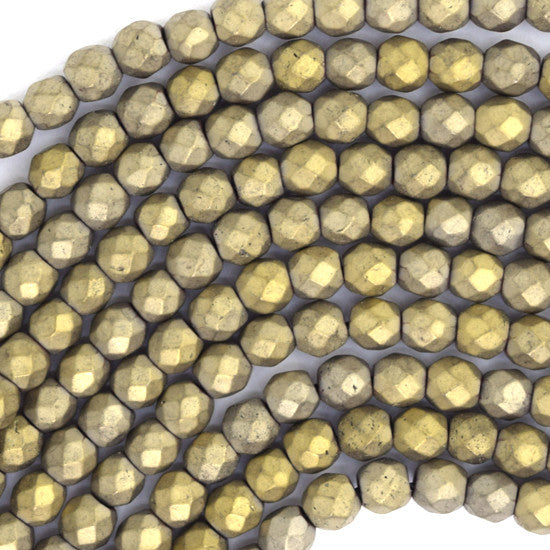 "4mm faceted matte hematite round beads 15"" strand light gold color"