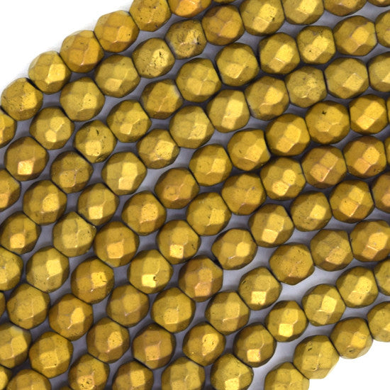 "4mm faceted matte hematite round beads 15"" strand gold"