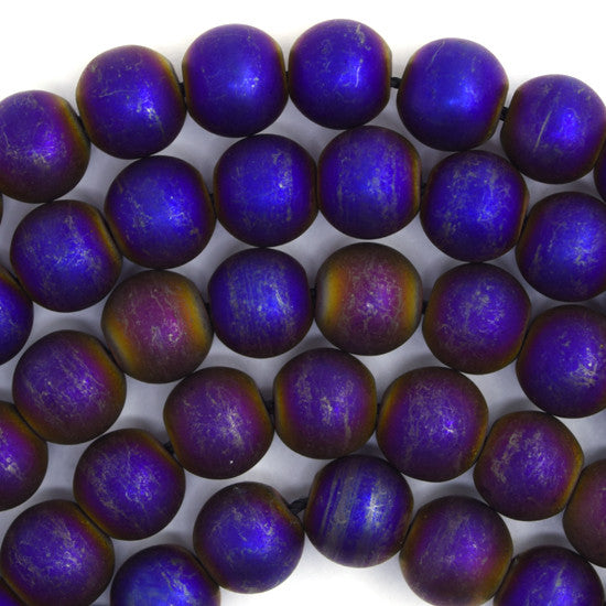 "10mm matte hematite round beads 16"" strand blue purple"