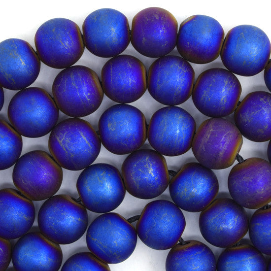 "10mm matte hematite round beads 16"" strand blue color"