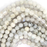4mm faceted white moonstone round beads 15