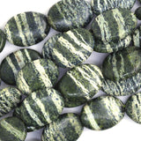 12x17mm green zebra jasper flat oval beads 16