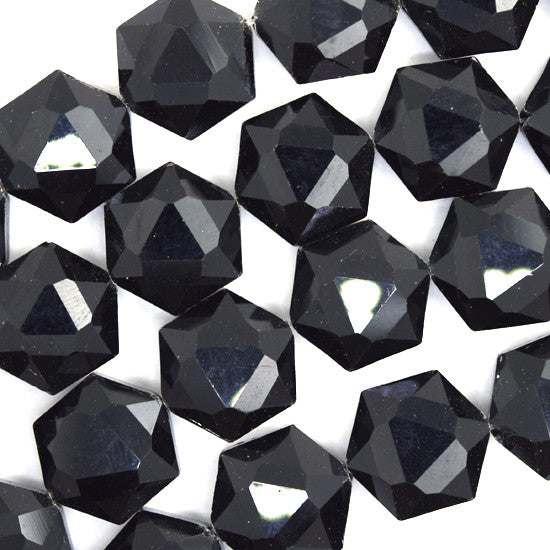 "14mm faceted crystal hexagon beads 7.5"" strand black jet"