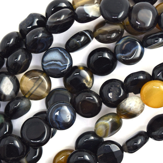 "8mm natural black onyx coin beads 15.5"" strand S1"