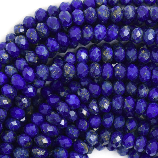 "4mm faceted blue lapis lazuli rondelle beads 15.5"" strand S1"