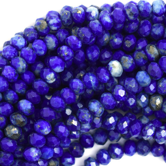 "4mm faceted blue lapis lazuli rondelle beads 15.5"" strand S3"