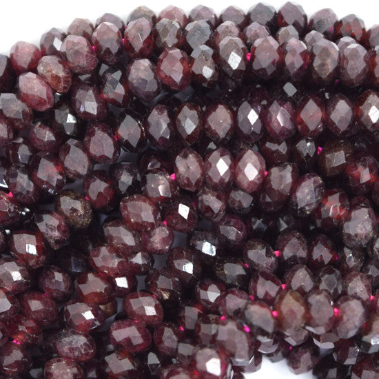 "4mm faceted red garnet rondelle beads 16"" strand"
