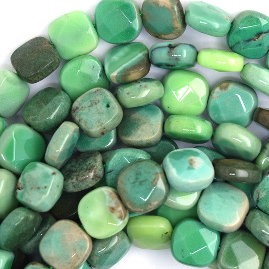 "8mm faceted green chrysoprase flat square beads 16"" strand"