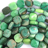 8mm faceted green chrysoprase flat square beads 16